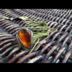 Vintage Amber Sterling Silver Ring